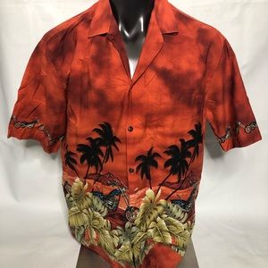 Pacific Legend Mens Motorcycle Graphic Button Down